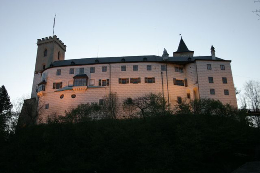 Замок Розенберг вечером