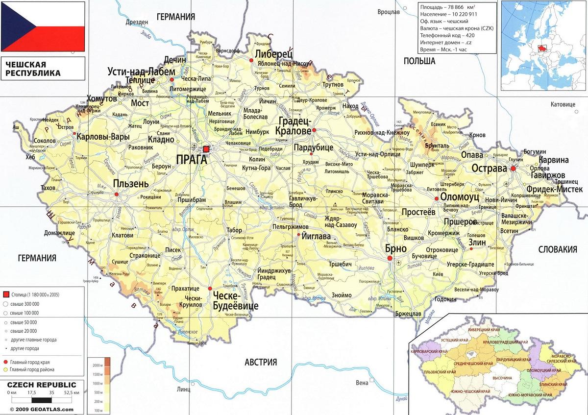 Карта городов Чехии
