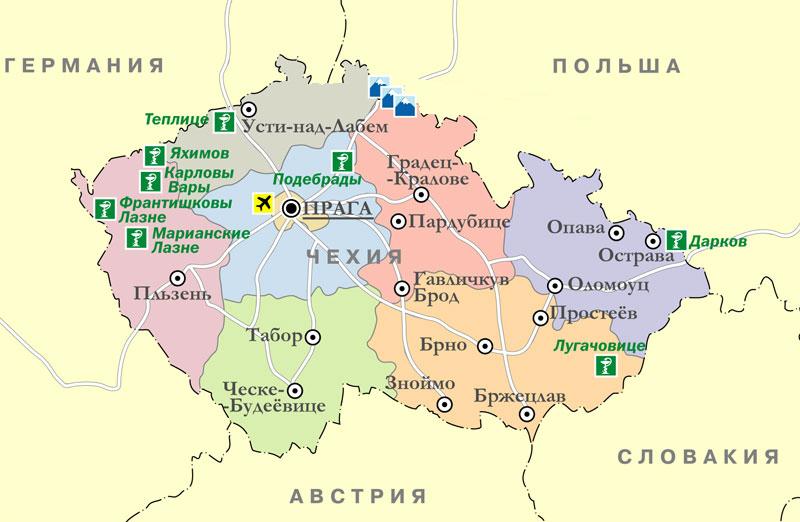 Карта Чехии на русском